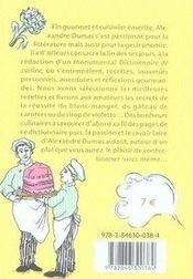 Dictionnaire insolite ; la cuisine d'alexandre dumas - 4ème de couverture - Format classique
