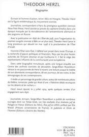 Theodor Herzl ; Biographie - 4ème de couverture - Format classique