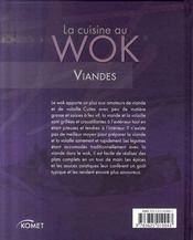 La cuisine au wok ; viandes - 4ème de couverture - Format classique