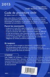 Code de procédure civile 2013 ; le code des procédures civiles d'exécution - 4ème de couverture - Format classique