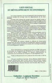 Lien Social Et Developpement Economique - 4ème de couverture - Format classique