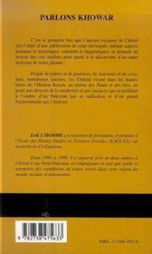 Parlons Khowar - 4ème de couverture - Format classique