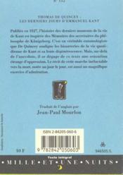 Les Derniers Jours D'Emmanuel Kant - 4ème de couverture - Format classique