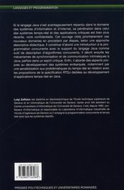 Programmation concurrente et temps réel avec Java - 4ème de couverture - Format classique