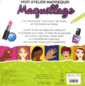 Mon atelier mannequin ; maquillage - 4ème de couverture - Format classique