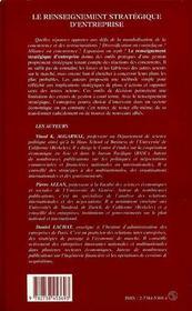Le Renseignement Strategique D'Entreprise - 4ème de couverture - Format classique