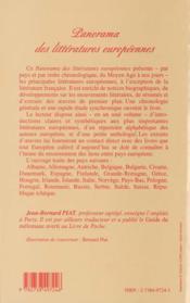 Panorama Des Litteratures Europeennes - 4ème de couverture - Format classique