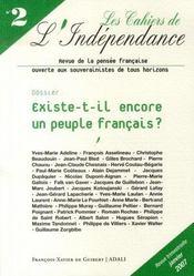 Les cahiers de l'indépendance t.2 ; existe-t-il encore un peuple français ? - Intérieur - Format classique