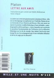 Lettre Aux Amis - 4ème de couverture - Format classique