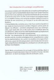 Introduction A La Sociologie Comprehensive - 4ème de couverture - Format classique