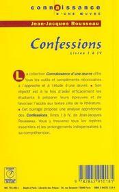 Confessions - Rousseau - 4ème de couverture - Format classique