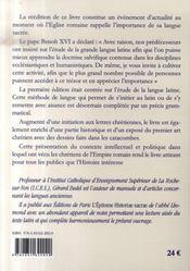Le latin par la messe ; les chrétiens dans l'empire romain - 4ème de couverture - Format classique