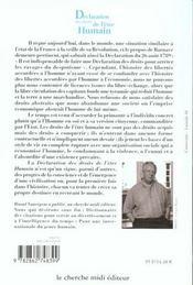 Declaration Universelle Des Droits De L'Etre Humain - 4ème de couverture - Format classique