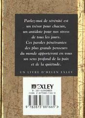 Parlez-Moi De Serenite - 4ème de couverture - Format classique