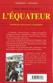 L'Equateur - 4ème de couverture - Format classique
