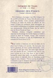 Histoire des francs t1 - 4ème de couverture - Format classique