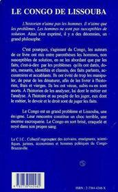 Le Congo De Lissouba - 4ème de couverture - Format classique