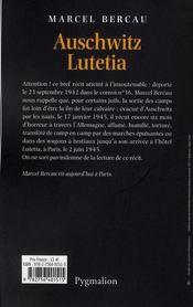 Auschwitz - Lutetia - 4ème de couverture - Format classique