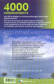 Gites d'etape et refuges,4000 hebergements - 4ème de couverture - Format classique