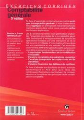 Exercices Corriges De Comptabilite Generale, 5eme Edition - 4ème de couverture - Format classique