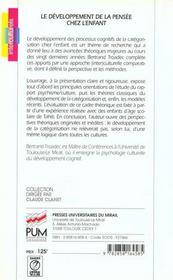 Developpement De La Pensee Chez L Enfant Categorisation Et Cultures - 4ème de couverture - Format classique
