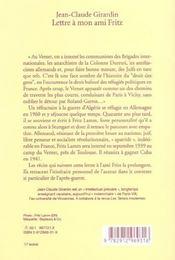 Lettre A Mon Ami Fritz - 4ème de couverture - Format classique