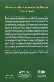 Bien-Etre Animal Et Travail En Elevage. Textes A L'Appui - 4ème de couverture - Format classique