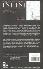 La Fourmi Et L'Infini - 4ème de couverture - Format classique