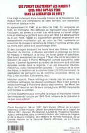 Les Maquis De La Liberation - 4ème de couverture - Format classique