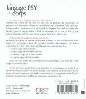 Le Langage Psy Du Corps - 4ème de couverture - Format classique