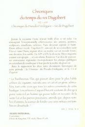 Chroniques Du Temps Du Roi Dagobert - 4ème de couverture - Format classique