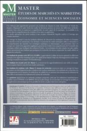 Master ; Etudes De Marchés En Marketing, Economie Et En Sciences Sociales - 4ème de couverture - Format classique