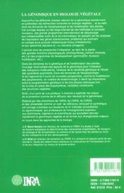 La Genomique En Biologie Vegetale - 4ème de couverture - Format classique