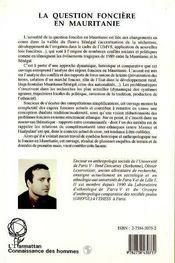 La Question Fonciere En Mauritanie ; Terres Et Pouvoirs Dans La Region Du Gorgol - 4ème de couverture - Format classique