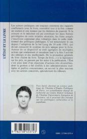 L'Etat Et Le Livre ; Les Politiques Publiques Du Livre En France, 1957-1993 - 4ème de couverture - Format classique
