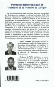 Politiques Demographiques Et Transition De La Fecondite En Afrique - 4ème de couverture - Format classique