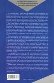 L'Etat De Droit ; La Democratie Et Le Developpement Economique En Afrique Subsaharienne - 4ème de couverture - Format classique