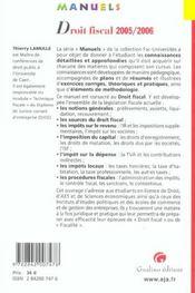 Manuel de droit fiscal 2005-2006 - 4ème de couverture - Format classique