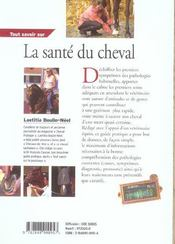 Tout Savoir Sur La Sante Du Cheval - 4ème de couverture - Format classique