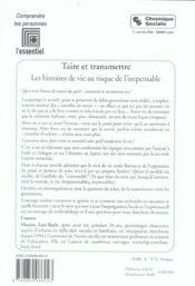 Taire Et Transmettre - Les Histoires De Vie Au Risque De L'I - 4ème de couverture - Format classique