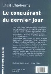Conquerant Du Dernier Jour (Le) - 4ème de couverture - Format classique