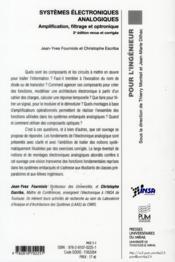Systemes Electroniques Analogiques - 4ème de couverture - Format classique