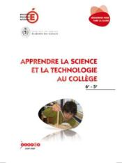 Apprendre La Science Et La Technologie Au College - 6e/5e - Couverture - Format classique