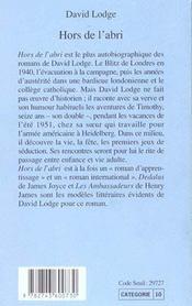 Hors De L'Abri - 4ème de couverture - Format classique