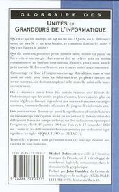 Glossaire Des Unites Et Grandeurs De L'Informatique - 4ème de couverture - Format classique