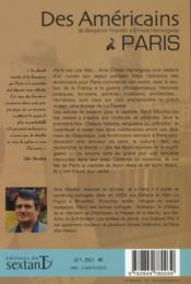 Des américains à Paris : de Benjamin Franklin à Ernest Hemingway - 4ème de couverture - Format classique