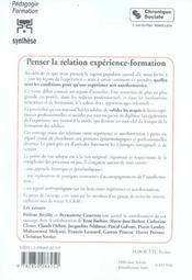 Penser La Relation Experience-Formation - 4ème de couverture - Format classique