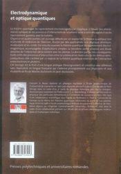 Électrodynamique et optique quantique - 4ème de couverture - Format classique