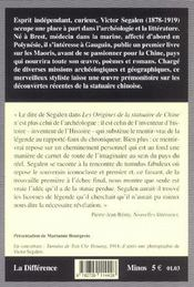 Les Origines De La Statuaire De Chine - 4ème de couverture - Format classique