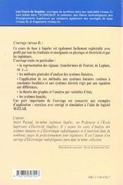Signaux Et Systemes Lineaires - 4ème de couverture - Format classique